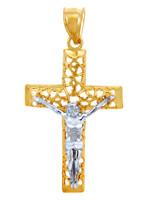 The Blessed Two Tone Gold Cross Pendant
