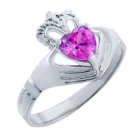 Silver Claddagh Ring with Pink Cubic Zirconia Birthstone.