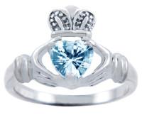 Silver Claddagh Ring with Aquamarine CZ Heart