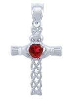 Silver Celtic Cross Pendant with Garnet CZ Heart