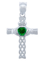 Silver Celtic Cross Pendant with Emerald CZ Heart