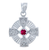 Silver Celtic Trinity Pendant with Ruby CZ Stone