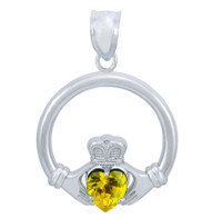 Silver Claddagh Yellow CZ Heart Pendant (M)