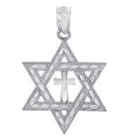 Jewish Charms and Pendants - White Gold Star Cross of David