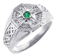 White Gold Celtic Cross CZ Ring Mens with Emerald