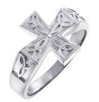 Celtic Band - Silver Mens Celtic Trinity Cross Ring