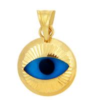Bright Blue Evil Eye in 14K Yellow Gold