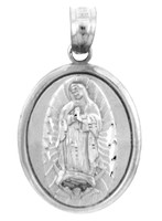 Religious Charms - The Blessed Guadalupe White Gold Pendant