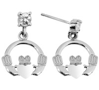Satin Sterling Silver Earring with CZ