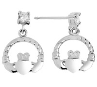 Sterling Silver Claddagh Earring with CZ