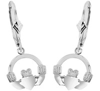 Sterling Silver Claddagh Earring with Leverback