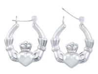Sterling Silver Claddagh Large Polished Hoop Earring