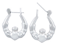 Sterling SIlver Polished Claddagh Hoop Earring