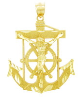 Religious Charms - The Anchored Cross Gold Pendant