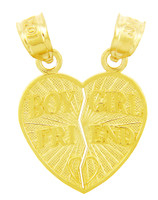 Gold Pendants - Boy Girl Friend Heart Pendant