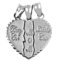 Big Sis, Little Sis, Mom Silver Pendant