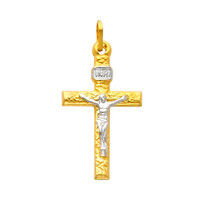 14K Gold Two Tone Blissful Crucifix