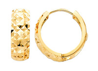 Bold Diamond Cut Yellow Gold Huggie Earrings