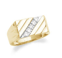 Men's diamond ring in 10k or 14k yellow gold.