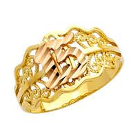 """Diamond Cut """"15 Anos"""" Yellow Gold Ring"""