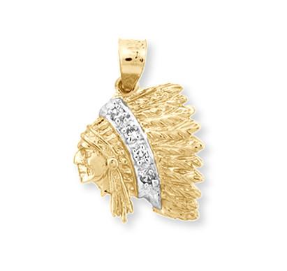 Western Star 5700 >> Gold Indian Chief Head Pendant | CZ Indian Chief Head Pendant | Gold Native American Head Pendant
