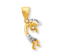 Indian flute pendant in 10k or 14k yellow and white gold.