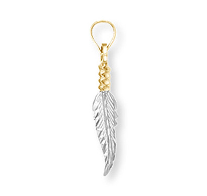 White and yellow gold Native American feather pendant.