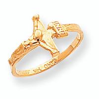 14K Polished Gold Crucifix Baby Ring