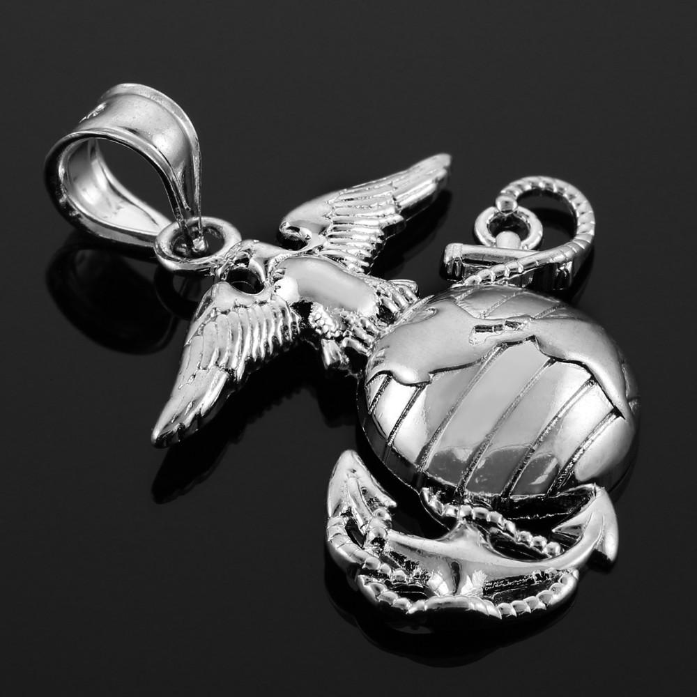 14k White Gold U.S Marine Corps Insignia Charm Pendant 17mmx9mm