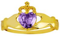 February birthstone amethyst CZ Claddagh ring in gold.