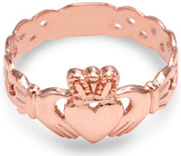 Men's Rose Gold Claddagh Ring with Trinity Band