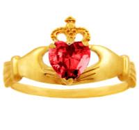 Ruby CZ birthstone Claddagh ring in 10k or 14k gold.