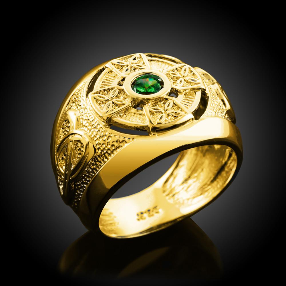 10k 14k Gold Men S Celtic Green Cz Emerald Ring Ebay