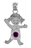 Silver  Baby Charms and Pendants - CZ Amethyst Girl Birthstone Charm