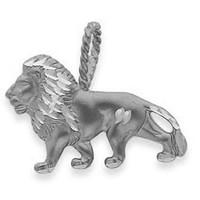White Gold Lion Charm Pendant
