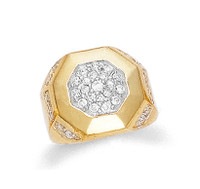 Gold Cubic Zirconia Pave Mens Gold Ring