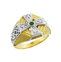 Two-Tone Gold Celtic Cross Green CZ Mens Emerald Ring