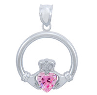 Silver Claddagh Pink CZ Heart Pendant (L)