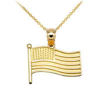 American Flag Yellow Gold Charm Pendant Necklace