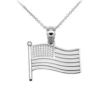 American Flag White Gold Charm Pendant Necklace