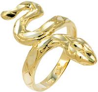 Yellow Gold Diamond Cut Snake Ring