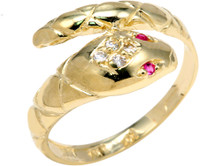 Yellow Gold CZ Serpent Ring