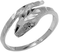 White Gold Diamond Cut Cobra Ring