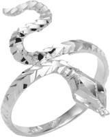 925 Sterling Silver Serpent Diamond Cut Ring