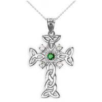 White Gold Celtic Knot Trinity Cross Diamond Pendant Necklace with Genuine Emerald