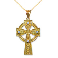 Gold Celtic Cross Diamond Pendant Necklace