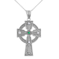 White Gold Celtic Trinity Diamond Cross Pendant Necklace with Emerald