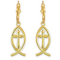 Gold Ichthus Cross Earrings
