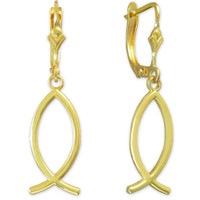 Yellow Gold Ichthus (Fish) Earrings