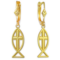 Yellow Gold Ichthus Cross Earrings